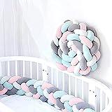 Wuudi Protector de cama trenzado, marco de cama tejido, cojín de cuna, 2,2 m de largo, cojín de peluche anudado, serpiente trenzada para equipamiento de cuna, color gris