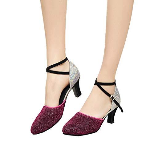 Damen Standard Latein Tanzschuhe Glitzer Tango Salsa Schuhe Knöchelriemen Mittelhohe Weicher Boden für Party Hochzeit, Klassische Pumps Elegante Brautschuhe Celucke (Rot, EU41)