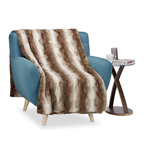 Relaxdays Kuscheldecke Felloptik, Decke Fellimitat, Tagesdecke XXL, Wohndecke flauschig, BxT ca. 150 x 200 cm, weiß-braun