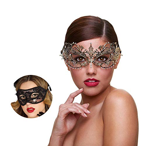 MYMENU Masquerade Mask for Couples Women Metal Rhinestone Venetian Pretty Party Evening Prom Ball Mask Luxury Metal Mask with Free Lace Mask 2 Pack (Butterfly Gold)