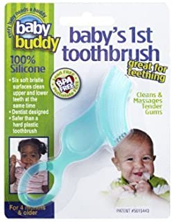 Brilliant Baby's 1st Toothbrush Teether - Premium Silicone First Toothbrush for Babies and Toddlers - Kids Love Them, Green, 1 Count