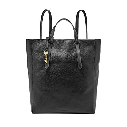 Fossil Women's Camilla Leather Convertible Backpack Handbag, Black