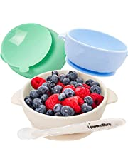 Baby Bowls with Suction - 4 Piece Silicone Set with Spoon - UpwardBaby - for Babies Kids Toddlers - BPA Free - First Stage Self Feeding