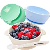 Baby Bowls with Guaranteed Suction - 4 Piece Silicone Set with Spoon - UpwardBaby - for Babies Kids Toddlers - BPA Free...