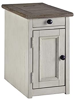 Signature Design by Ashley Bolanburg Farmhouse Chair Side End Table with Outlets and USB Ports Antique White & Brown