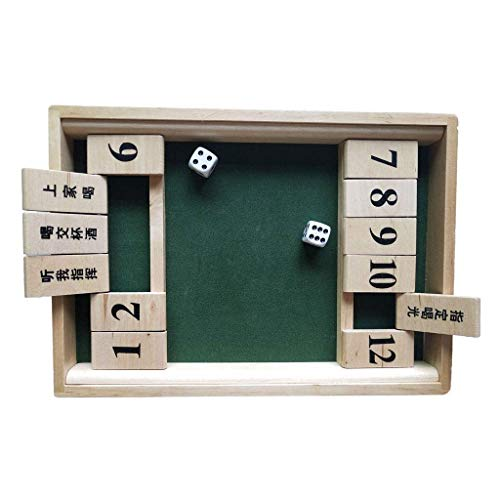 Yxxc Backgammon 12 Numbers Shut The Box Board Game with Dice 2 Players Bar Drinking Party Family Porch Games for Kids Adult