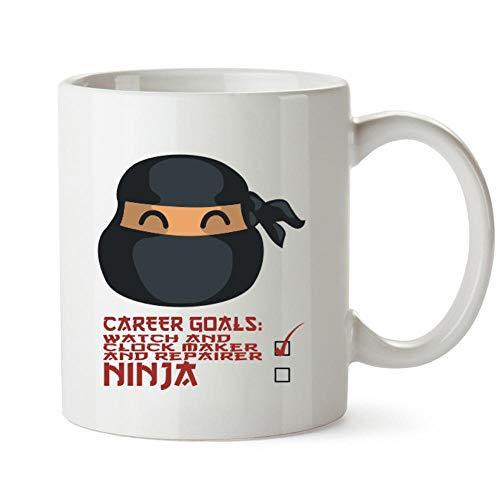 Idakoos Career Objetivos Reloj y Reloj Fabricante y Reparador Ninja Face Mug 11oz