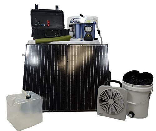 solar4POWER Portable Solar Power Generator Kit for Emergency Preparedness - Includes a Water Purification Kit, Fan, and an Emergency SOS Handheld Light - Provides Electric Power 120 Emergency Kit