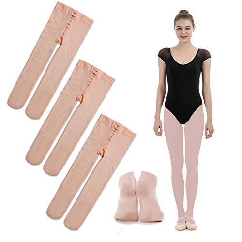 iMucci Ballett-Strumpfhosen – Samt voller Fuß Ballerina Tanzstrümpfe -  Pink -  S (3-5 Jahre)