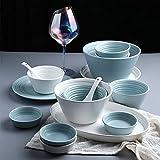 CCAN Platos de Cena Elegantes, Juegos de Cena de cerámica, Juego de combinación de vajilla de Porcelana Serie de Estilo nórdico de 56 Piezas |Juegos de Platos y tazones de Cereales para Regalos de