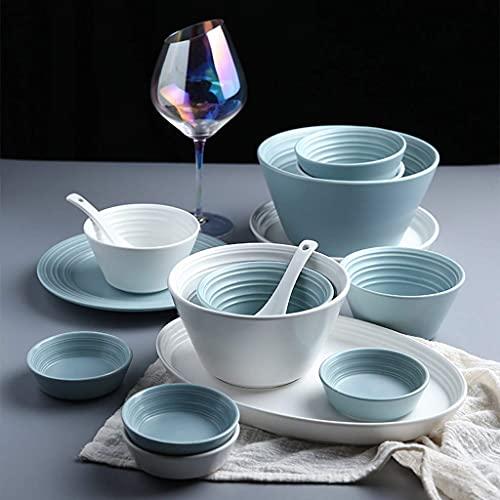 THj De vajilla de cerámica con Estilo, 56 Piezas de vajilla de Porcelana de Estilo nórdico de combinación  Juegos de Platos y tazones de Cereales para Regalos de Boda y Fiesta Familiar, Azul