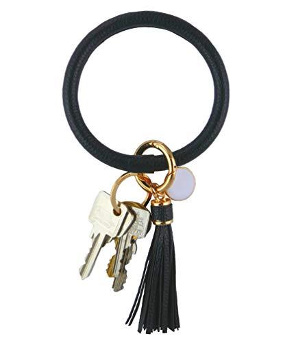 THOMELA Schlüsselanhänger Armreif - Quast - Kunstleder - goldene Ringe & Schnellverschluss - Modetrend 2020 - Geschenkbox Set (Schwarz)