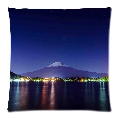 Monte Fuji Japón Bright Town at the Foot of the Hill Fundas de almohada cómodas para sofá, hogar, cama, 61 x 61 cm