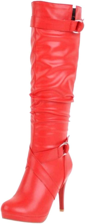 TAOFFEN Women High Heel Long Boots Zipper Party shoes