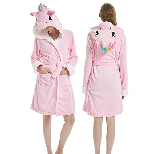 YPDM túnica Adultos Invierno Coral Terciopelo con Capucha Unicornio Bata de Mujer Franela Bata Stitch Panda Albornoces de baño Albornoces Largos para Hombres, Azul tnema, L