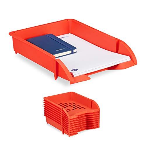 Relaxdays Set de Diez bandejas para Documentos, Apilable, Organizador para Escritorio, Plástico, Rojo, 7 x 25 x 34 cm