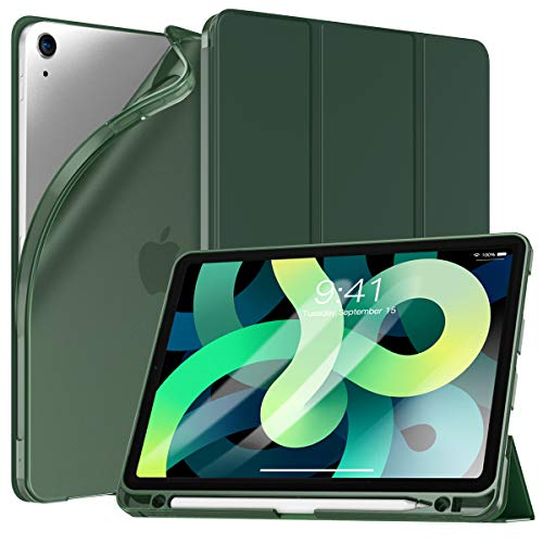 TiMOVO Custodia per New iPad 10.9 Pollici, iPad Air 4a Generazione Case 2020, Cover Tablet in TPU con Supporto Porta Penna Auto Svegliati Sonno Ultra Sottile, Verde Notte