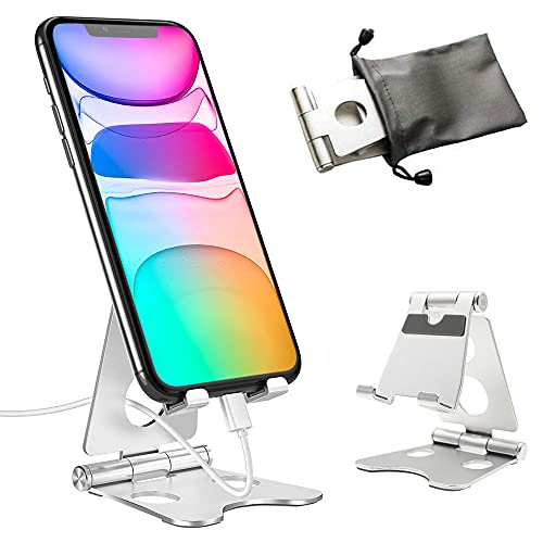 スマホスタンド 卓上 タブレットスタンド アルミ合金 角度調整可能 幅と高さ調整可能 折り畳み式 滑り止め 携帯電話スタンド 充電スタンド アイフォンデスク置き台 対応 iPhone/ipad/Nintendo Switch/Samsung/Sony/Nexus/Kindle/Androidなどスマホ スタンド(シルバー)