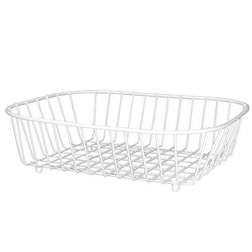 Cesto de fregadero blanco | Escurridor de platos y cubiertos | Escurridero metálico para fregadero| M&W
