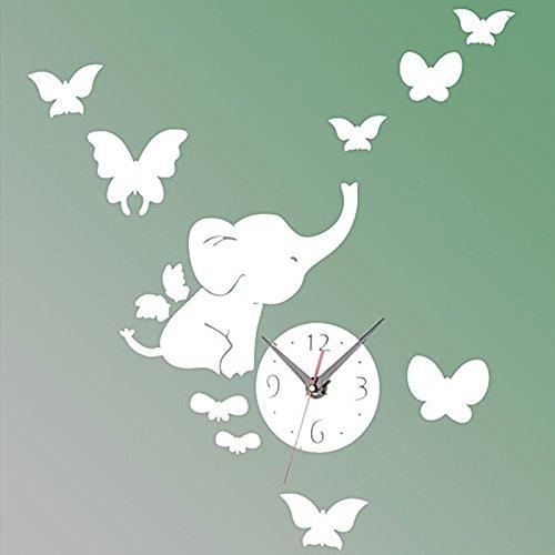 ZZH Orologio da Parete A Specchio Combinato Orologio da Parete A Forma di Farfalla di Elefante Infantile Orologio da Parete Appeso Silenzioso per Cameretta dei Bambini