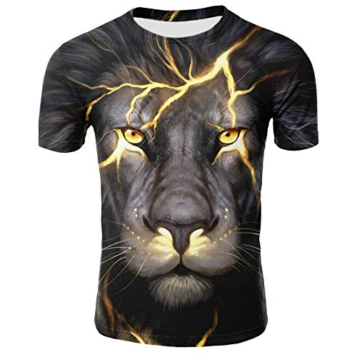 LKFTH Lion T Shirt Men Funny 3D Print T-Shirt Hip Hop Tee Cool Mens Streetwear Fashion Casual Short Sleeve O-Neck XL Black