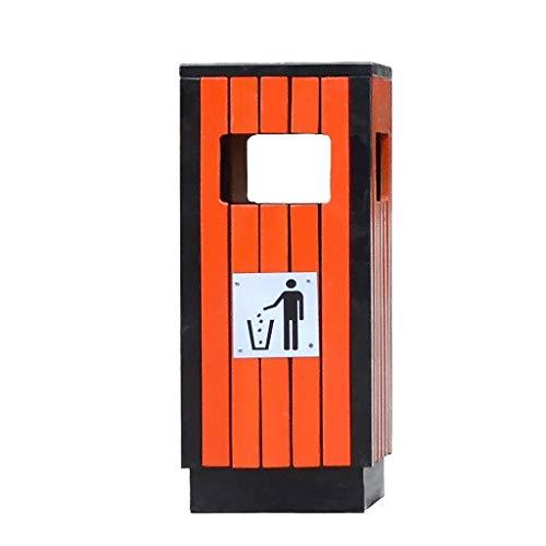 Papeleras Al aire libre / Papelera de interior puede madera de acero Permanente de basura paneles pueden decorativo estriadas de almacenamiento de cubo con Ash urna for Park Saneamiento Clasificación