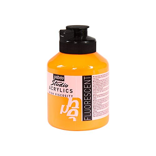 Pébéo - Acrylfarben Fine Studio Acrylics - Orange Fluoreszierende Acrylfarbe - Acrylfarbe für Acrylmalerei - Künstlerfarbe - Orange Fluoreszierend 500 ml 172370, Fluoreszierendes Orange
