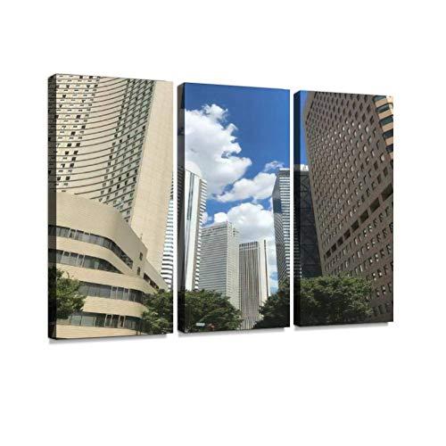 西新宿 ビルの間の青空ポスター パネル 現代壁の絵 壁掛け 部屋飾り 絵画 壁アート 完成品 3枚セット すぐ飾る!