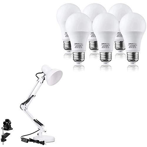 TORCHSTAR Metal Swing Arm Desk Lamp Bundle A19 LED Light Bulb, Classic...