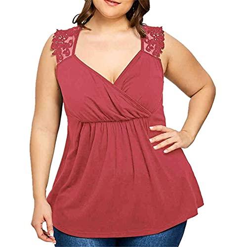 Camiseta Sin Mangas Mujer Sexy Cuello V Encaje Color Sólido Empalme Camisa Mujer Verano Elegante Moda Exquisita Mujer Shirt Cita Viaje Vacaciones Mujer Tops C-Red 5XL