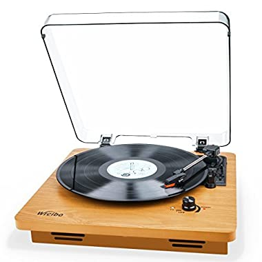 Record Player, Wrcibo Vintage Turntable 3-Speed Belt Drive Vinyl Player LP Record Player with Built-in Stereo Speaker, Aux-In, Headphone Jack, and RCA Output, Natural Wood