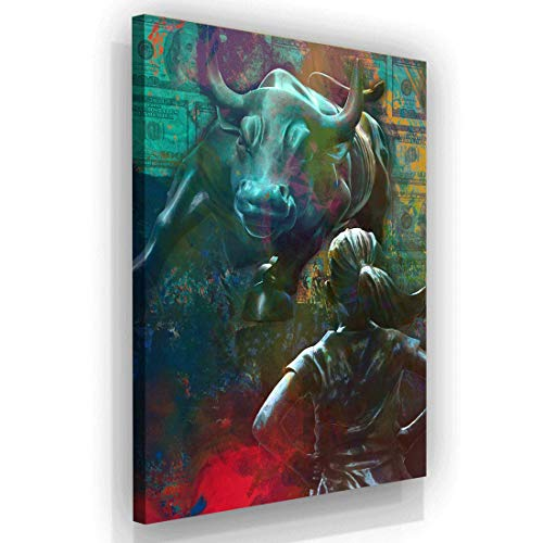 SuccessHuntersPrints Wall Street Bull Fearless Girl Lienzo Impreso Motivacional Arte de la Pared de la Oficina, Cartel de Toro de Carga de Pared, Lobo de Wall Street Girl