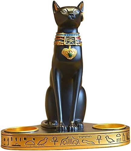 Estatua Impresionante Adorno de jardín para el hogar Escultura Decoración Estatua egipcia Gato Dios Candelabros Decoración de estatuas Artesanía de resina, Restaurante Sala de estar Escritorio
