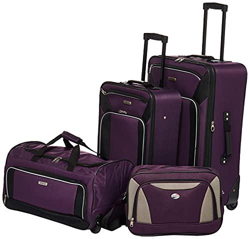 American Tourister Fieldbrook XLT Softside Upright Luggage, Purple/Black, 4-Piece Set (BB/DF/21/25)