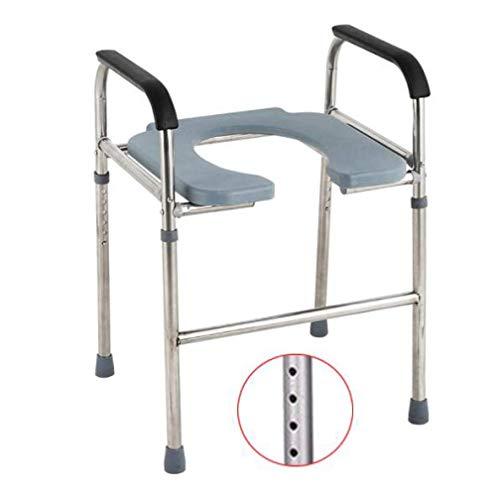 MWPO Silla cómoda, baño, Acero Inoxidable, médico, 3 en 1, cómoda, sobre Inodoro con Brazos, Altura Ajustable