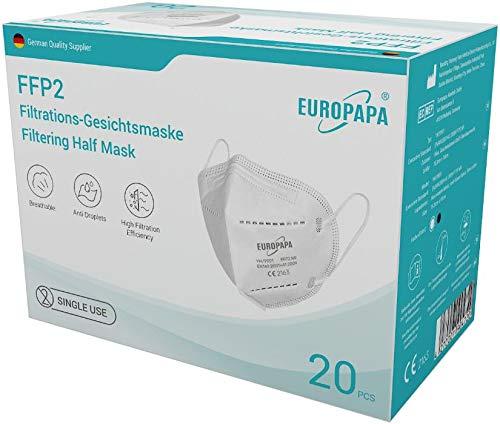 20er-Pack FFP2 Einweg Atemschutzmaske CE zertifizierte und DEKRA geprüfte 5-Lagen-Mundschutzmaske von EUROPAPA - 2
