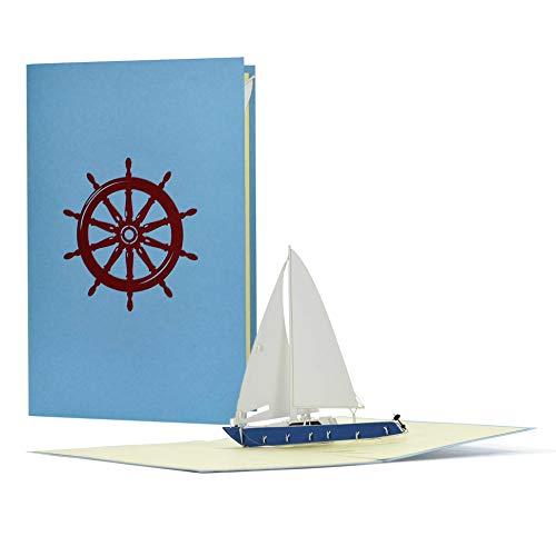 Gutschein oder Geburtstagskarte mit 3D Pop up Segelboot, Yacht|Ausgefallener Reisegutschein zum Segeln, Segelreise|Geschenkidee zu Geburtstag, B16