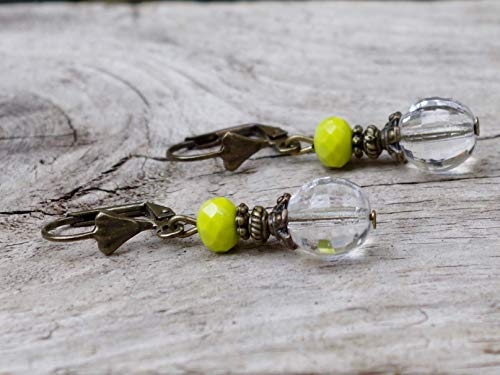 NEU!!! Vintage Ohrringe mit Glasperlen - klar, kiwigrün, kiwi & bronze