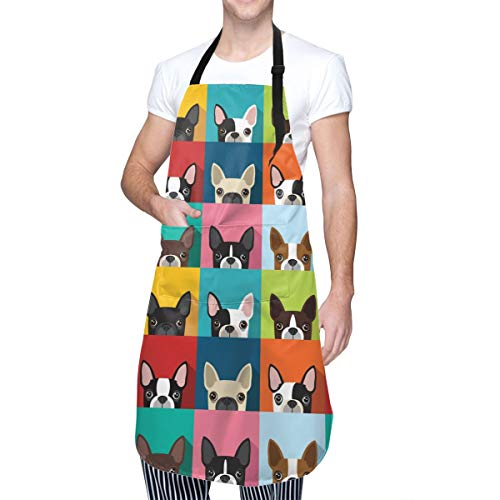 MOLIAN Cartoon Boston Terriers Bulldog Kitchen Apron with 2 Pockets Home Gardening BBQ Grill Chef Cooking Aprons for Women Men - Gifts