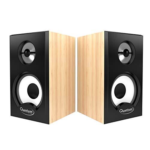 Quantum QHM636 Portable Laptop/Desktop USB Powered Multimedia Wooden Speaker with AUX Input (Wooden)