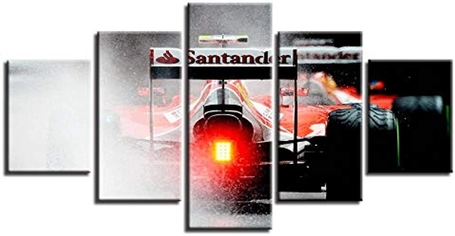 Framework Canvas Painting Wall Art Abstract Decorative Modular 5 Panel Game Racing Car Pictures for Living Room Bedroom Prints