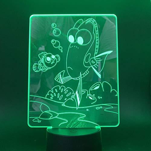 Luz submarina LED nocturna de peces 3D, lámpara visual de ilusión ó