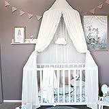 Miavogo Baby Baldachin aus Chiffon, Kinder Betthimmel Hängend Mädchen Prinzessin Schlösschen Spielzelt Dekoration für Schlafzimmer Babybett, Gesamtlänge 240cm, Weiß