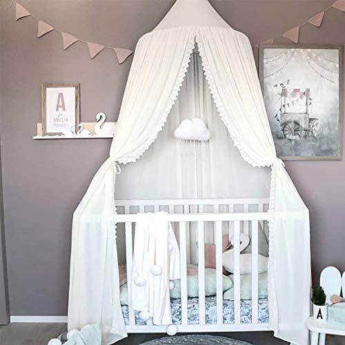 Miavogo Baby Baldachin mit Spitze, Kinder Betthimmel aus Chiffon Hängend Mädchen Prinzessin Schlösschen Spielzelt Dekoration für Schlafzimmer Babybett, Gesamtlänge 240cm, Weiß