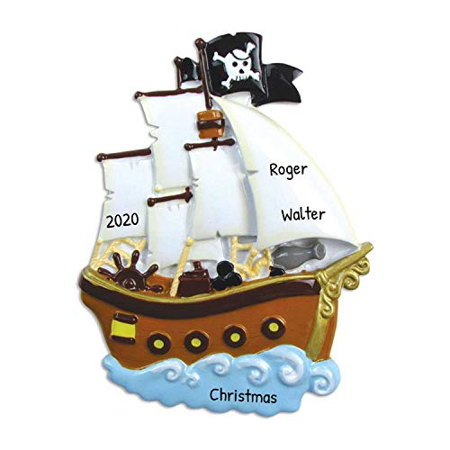 Personalized Pirate Ship Christmas Tree Ornament 2020 - Wooden Sailor Boat Adventurous War Vessel Deck Caribbean Boy Toddler Holiday Kids Toy Sea Shark Treasure Gift Year - Free Customization