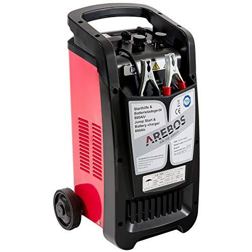 Arebos KFZ Starthilfe- und Batterieladegerät für Batteriekapazitäten Ladegerät Autobatterie bis 800 Ah mit Booster-Funktion, für 12V PKW und 24V LKW
