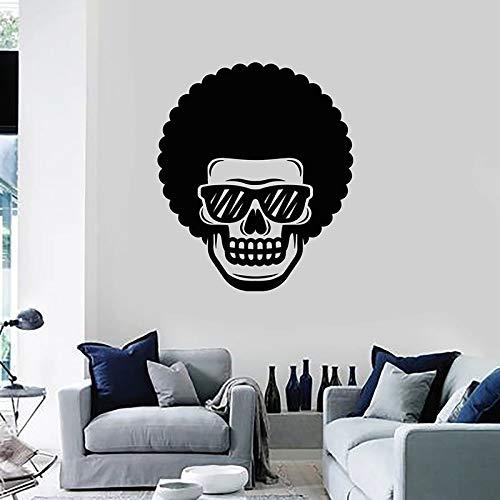 HGFDHG Divertido cráneo calcomanía de Pared Gafas Pelo Rizado Puertas y Ventanas Pegatinas de Vinilo barbería Bar Gente Cueva decoración de Interiores Papel Tapiz Arte