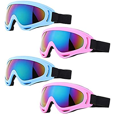 Peicees 4 Pack Winter Ski Goggles with UV400 Protection Adjustable Motorcycle Snow Goggles Tactical Glasses Windproof Sunglasses for Kids Boys Girls (4 Pack-Light Blue+Pink Frame/Colorful Lens)