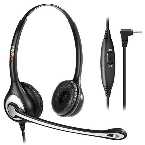 Wantek Cuffie 2,5 mm Dual con Microfono a Cancellazione del Rumore e Controllo del Volume, Auricolare Call Center per Gigaset Panasonic Grandstream Telefono Fisso Cordless DECT(F602J25)