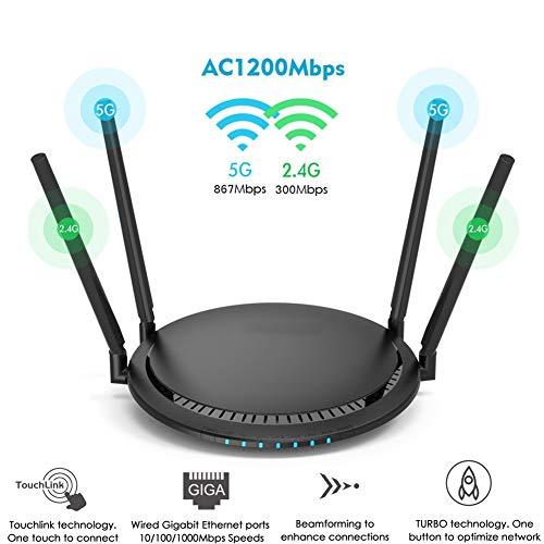 ZXY Router Inteligente 1200Mbps, De Banda Dual Gigabit Ethernet Port Router Inalámbrico De 2,4 GHz con WiFi Repetidor Inteligente Estable De Alta Velocidad De Fibra Través De La Pared Rey